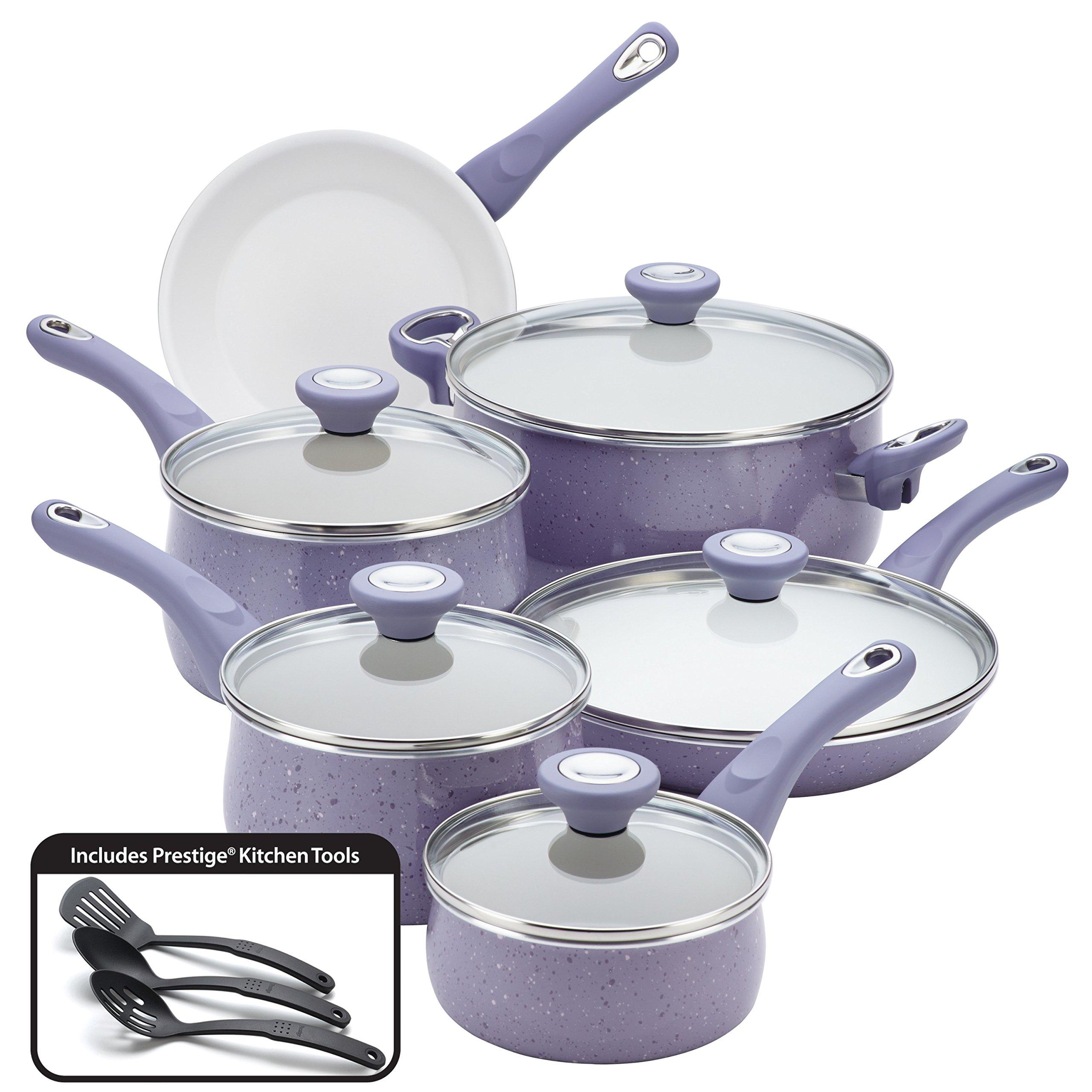 Farberware New Traditions Speckled Aluminum Nonstick 14-Piece Cookware Set, Lavender