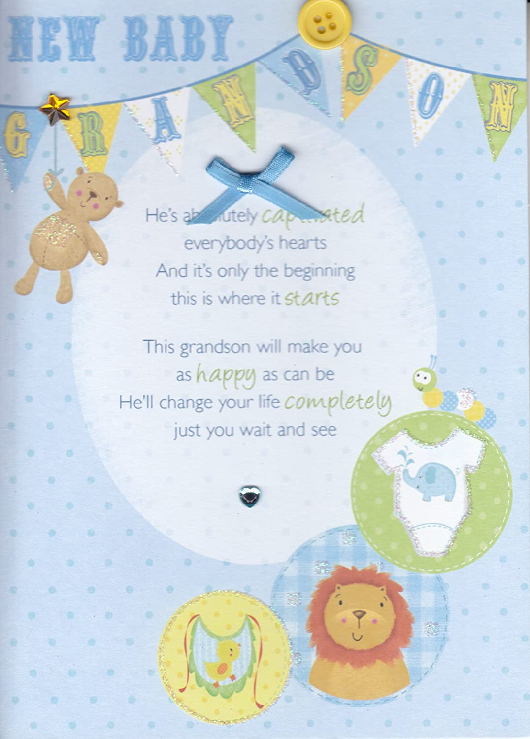 Amazon Com Words New Baby Grandson Congratulations Card For