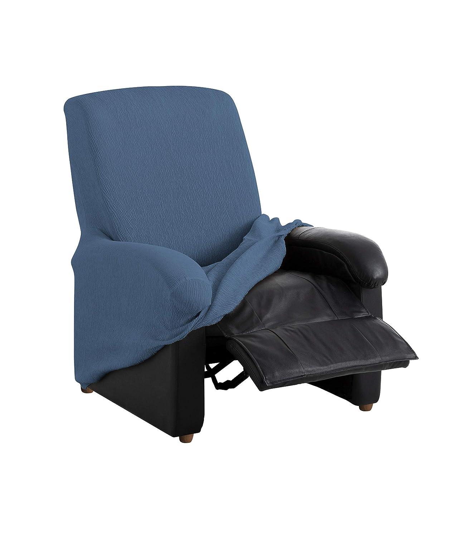 textil-home Funda de Sillón Elástica Relax Completo TEIDE, Tamaño 1 Plaza -Desde 70 a 100Cm. Color Azul
