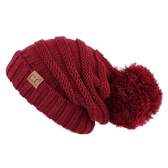 4826ee8c3a3 Hatsandscarf C.C Exclusives Unisex Oversized Slouchy Beanie with Pom (HAT-100POM)  (Amazon