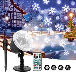 OwnZone Christmas Projector Lights Outdoor Waterproof Snowflake LED Light Projector Lamp Rotating Snowfall Landscape Spotlights with Remote Control for Xmas Party Wedding Garden Indoor Outdoor Decor