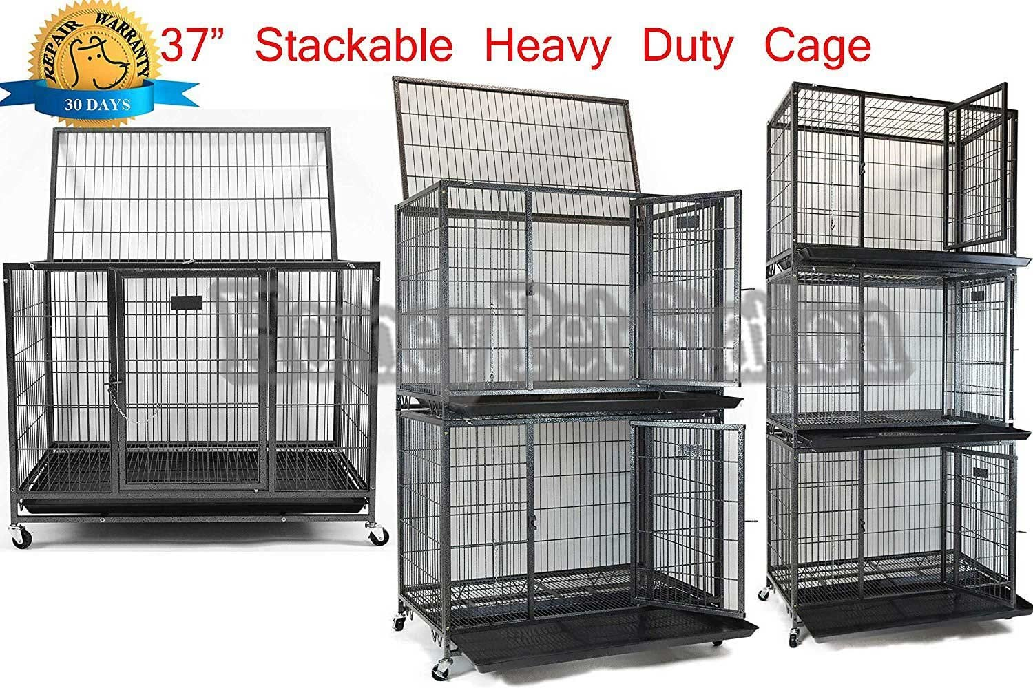 Homey Pet 37 Open Top Heavy Duty Dog Pet Cage Kennel w Tray, Floor Grid, and Casters