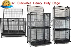 """Homey Pet 37"""" Open Top Heavy Duty Dog Pet Cage Kennel w/Tray, Floor Grid, and Casters"""