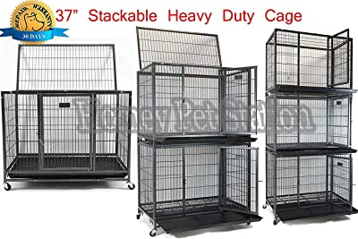 """Homey Pet New 37"""" Open Top Heavy Duty Dog Pet Cage Kennel w/Tray"""