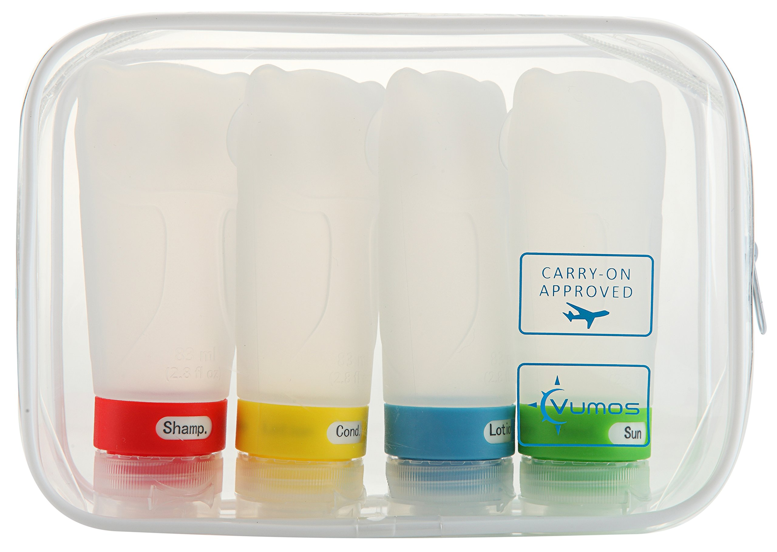 Travel Bottles Set of Four 2.8oz Leak Proof Silicone bottles with TSA Approved Bag