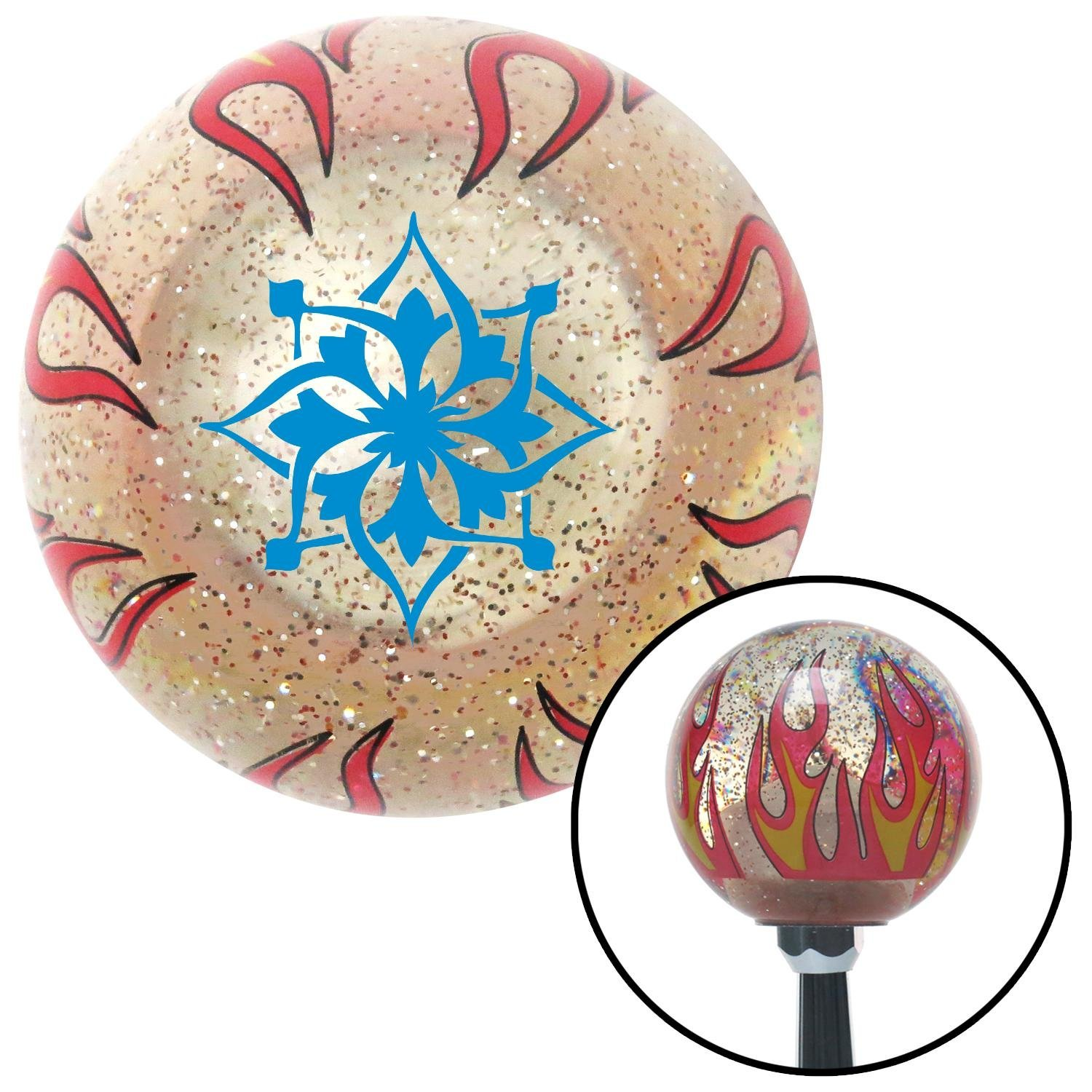 American Shifter 232341 Clear Flame Metal Flake Shift Knob with M16 x 1.5 Insert Blue Hawaiian Flower #5