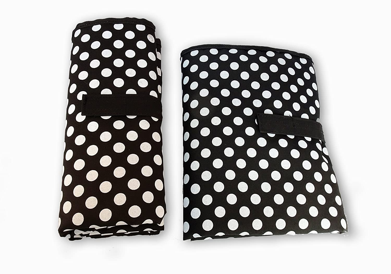 Waterproof Baby Nappy Changing Mat - One Hand Fold Grab & Go, Easy to Use, Large, Portable, Padded, Wipe Clean, On The Go Travel Change Station Pad (Black with White Dots) by Contented Infant ® 5060488380112