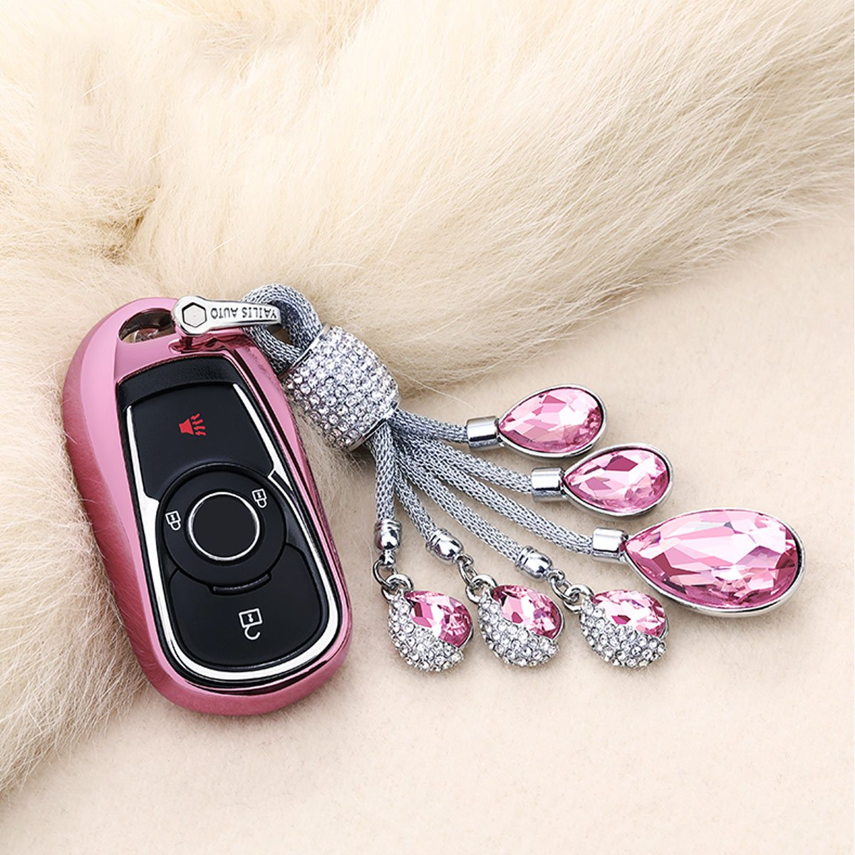 MODIPIM Keyless Entry Remote Cover Soft TPU Key Fob Case with Braided Cord Keychain for Buick Lacrosse Regal Verano Encore Envision GL8 2//3//4//5-Buttons Smart Key Color Pink