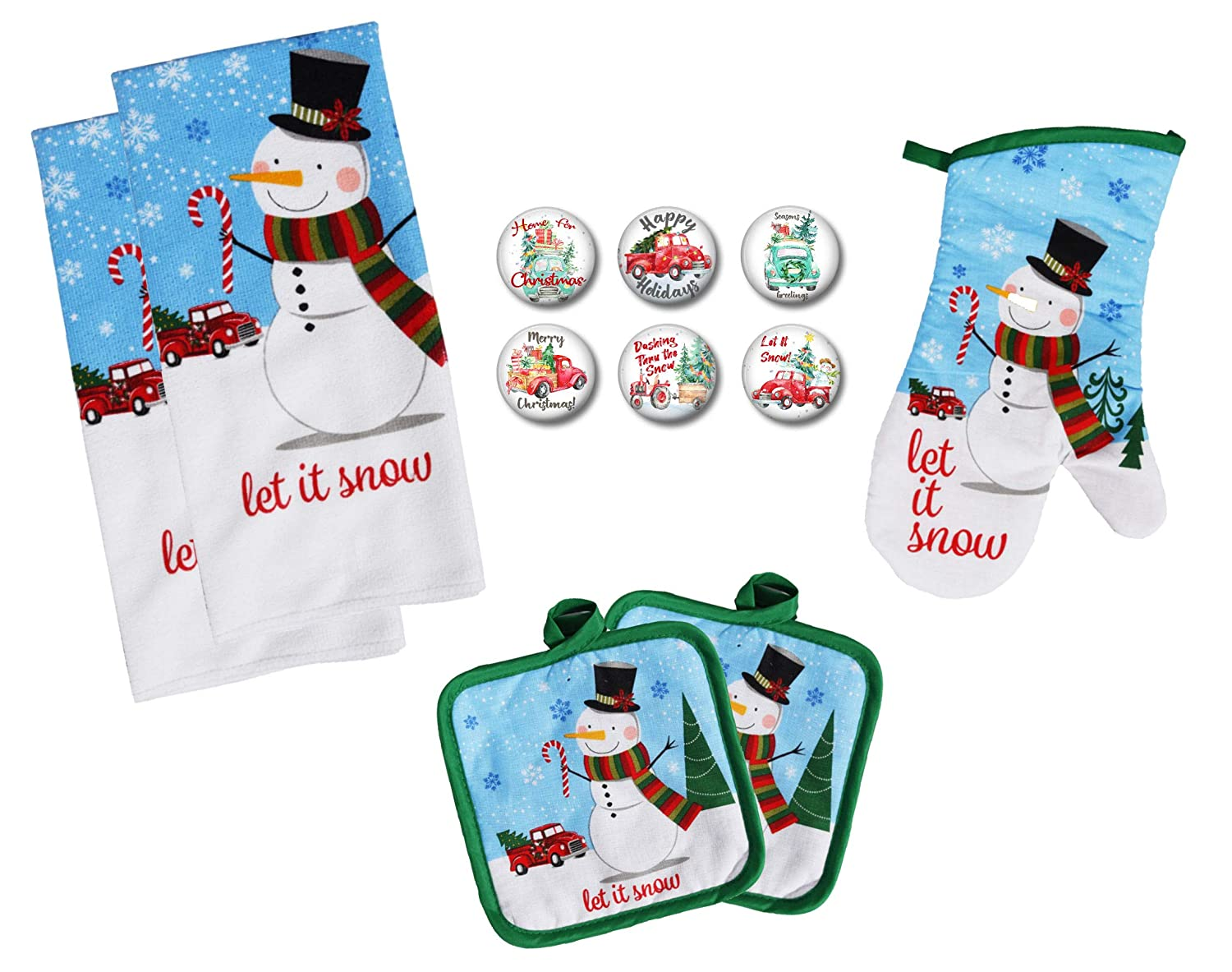 Farmhouse Daisy Designs Christmas Kitchen Decor Towel Set with Pot Holders Oven Mitt and Set of 6 Snowman and Old Red Christmas Truck Decor Refrigerator Magnets Set - (Snowman and Old Red Truck)