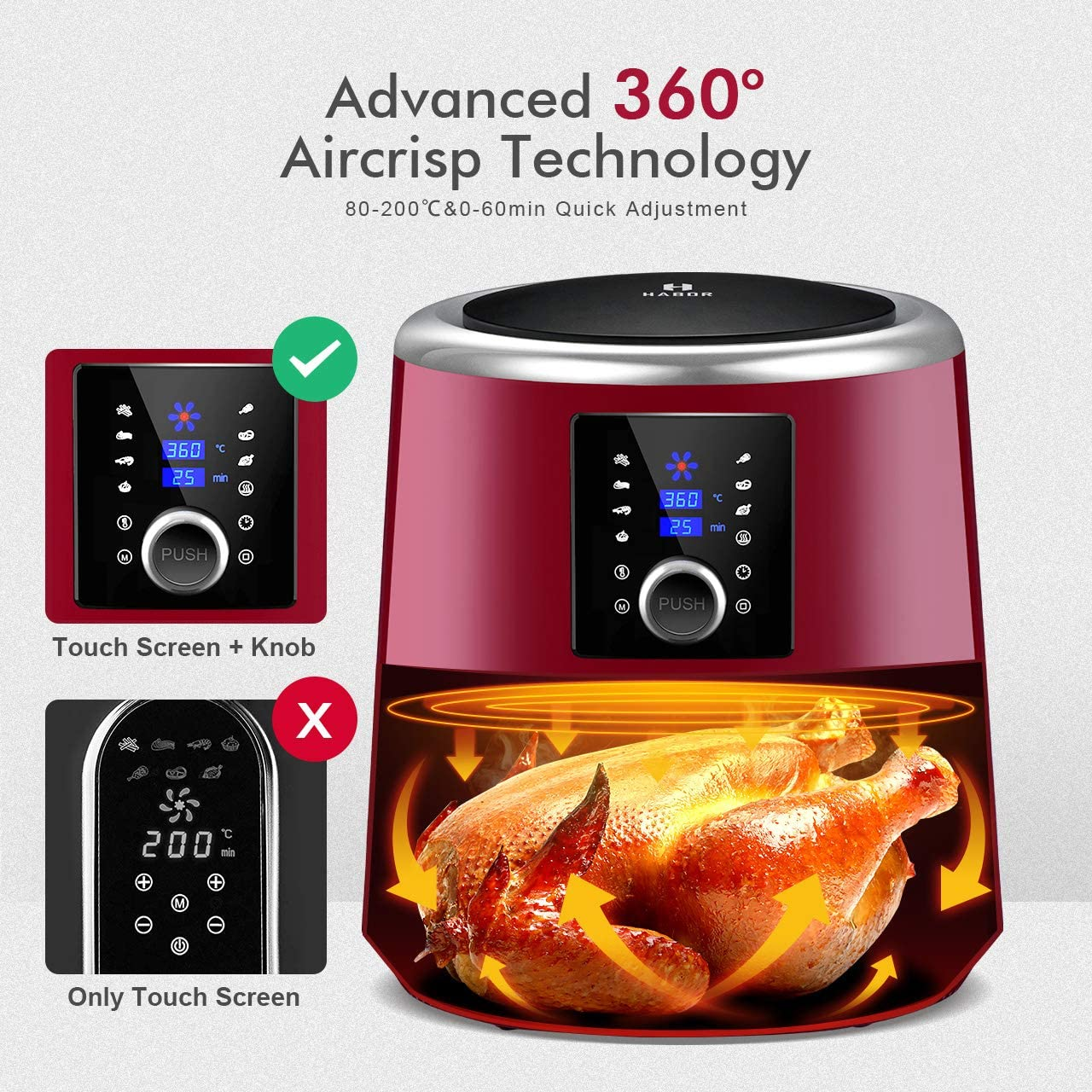 Habor Upgraded Air Fryer W Cookbook , 6QT Hot Air Fryer Oven, 8 Cooking Presets with Heat Preservation Function, Digital Touchscreen, Detachable Basket Dishwasher Safe, Chipotle Red-122AR