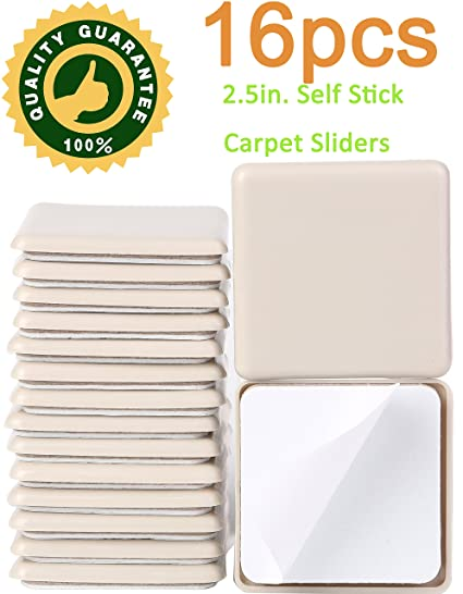 16 Pack 2.5inch Self Stick Square Furniture Moving Sliders For Carpet 2 1/