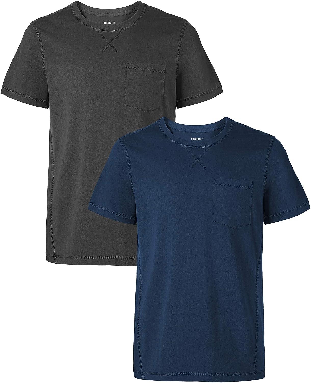 DAVID ARCHY Men's Tee 2 Pack Crewneck Short Sleeve Pocket T-Shirts
