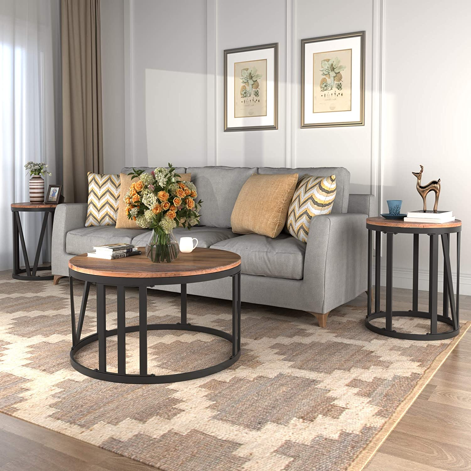 - Amazon.com: Rustic 3 Piece Coffee Table Set For Living Room 3
