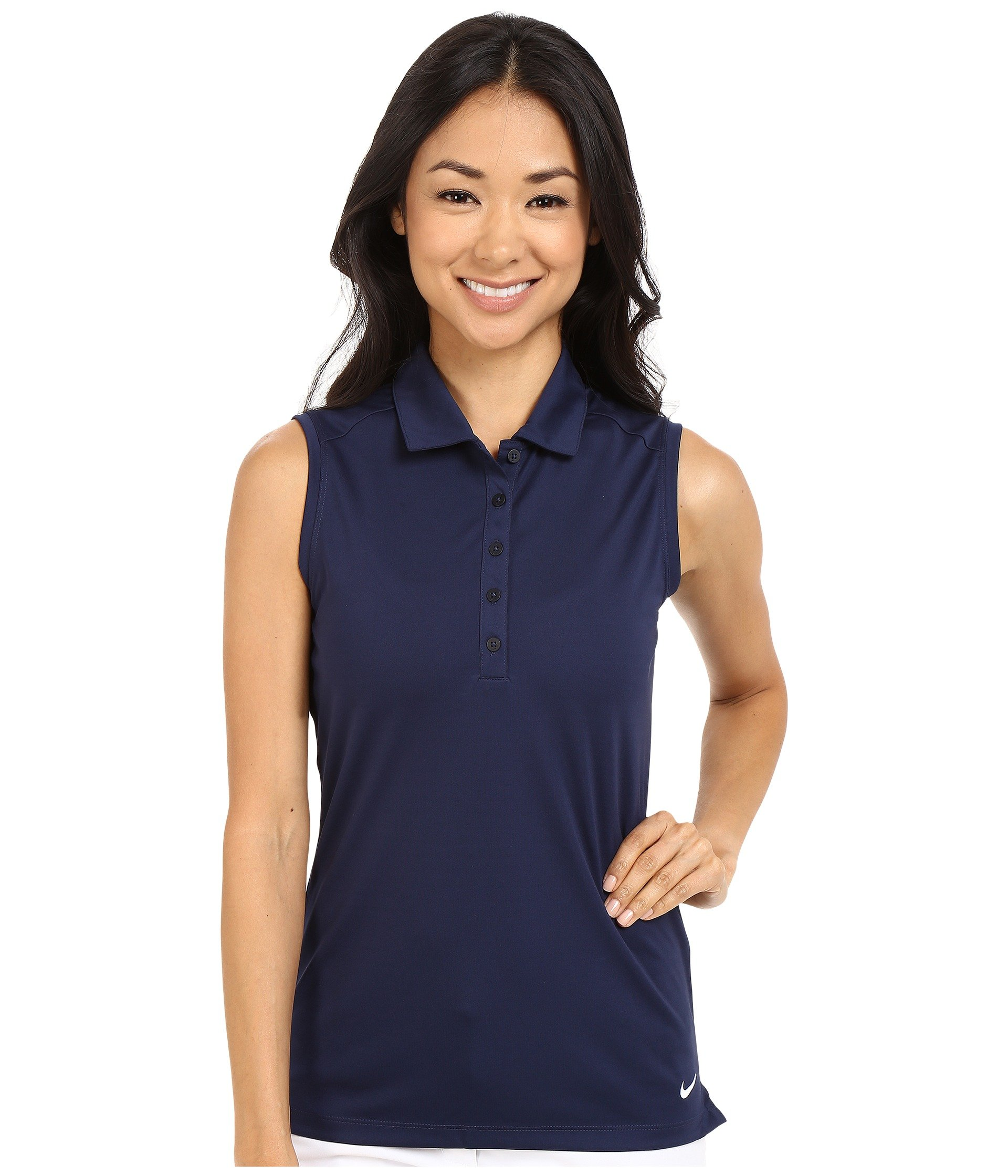 Nike Women's Victory Solid Sleeveless Polo, College Navy/White XS