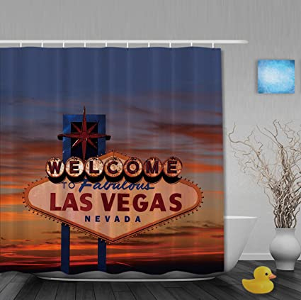 """Welcome Las Vegas Sign 72x72/"""" Polyester Waterproof Fabric Shower Curtain Liner"""