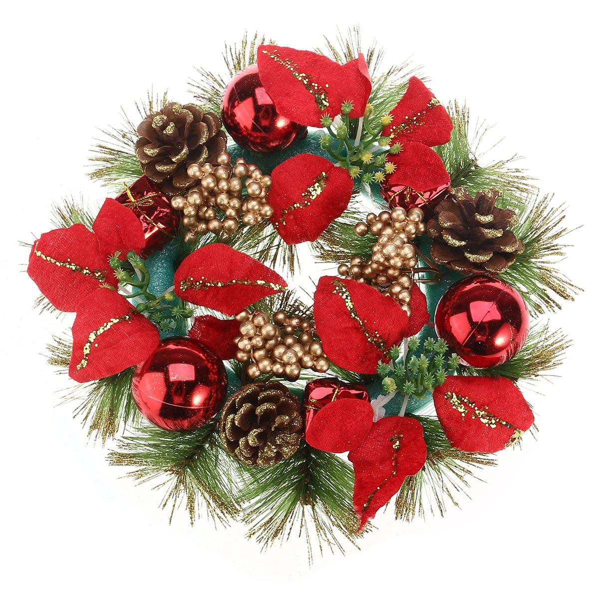 OULII Christmas Door Wreath with Pine Cones Poinsettia Christmas Balls Ornaments 30cm Red