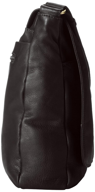 Derek Alexander Large 3//4 Flap Unisex Messenger Bag Black