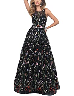 Risestaryiding Womens Formal Dress Flower Embroidery Prom Party