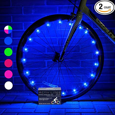 Activ Life 2 Tire Pack LED Bike Wheel Lights with Batteries Included! Get  100% Brighter and Visible from All Angles for Ultimate Safety & Style