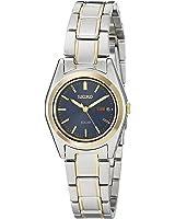 Seiko Women's Two-Tone Blue Dial Solar Calendar Watch
