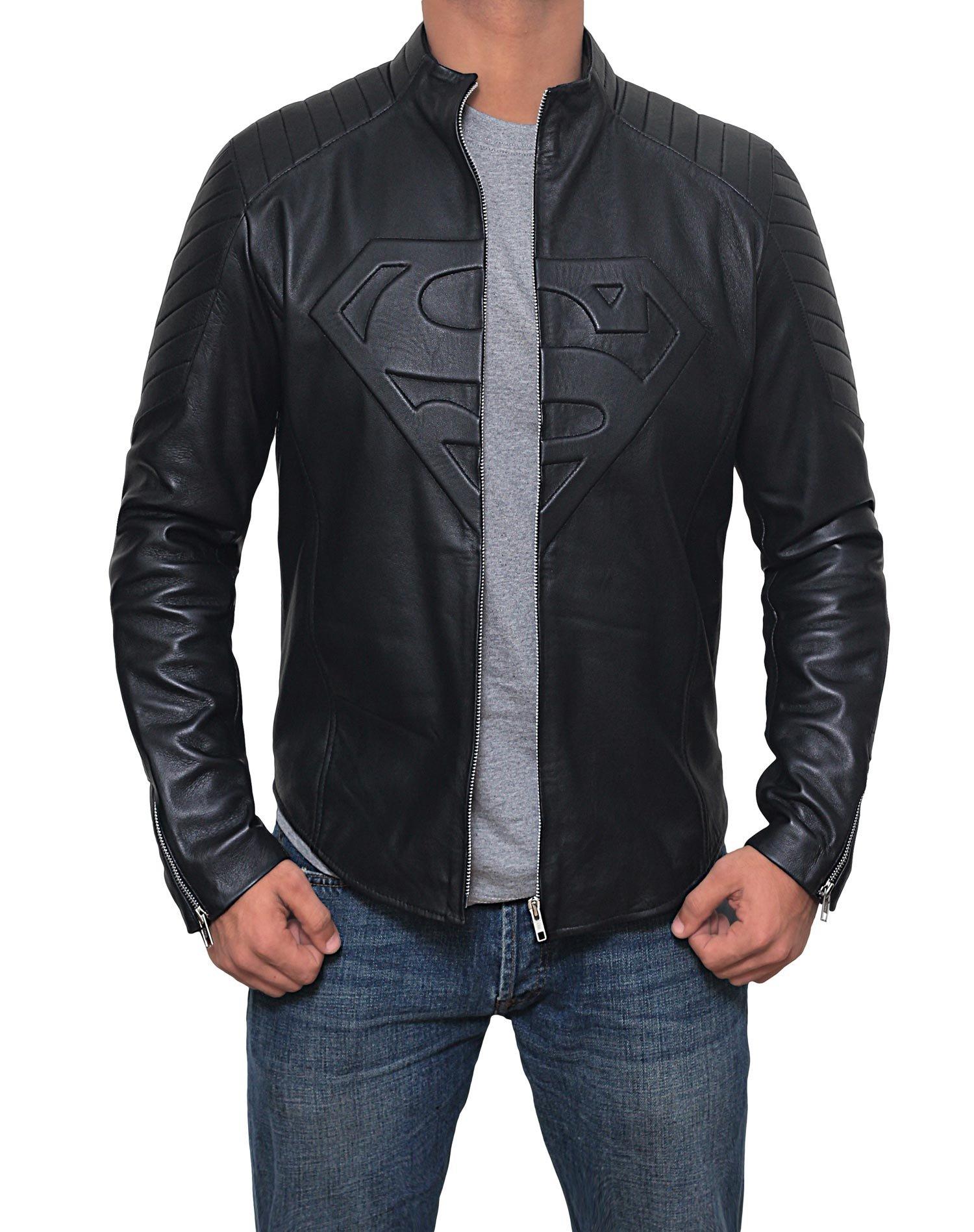 Mens Black Superman Leather Slim Fit Jacket (Superman Jacket, XL) by Decrum (Image #3)