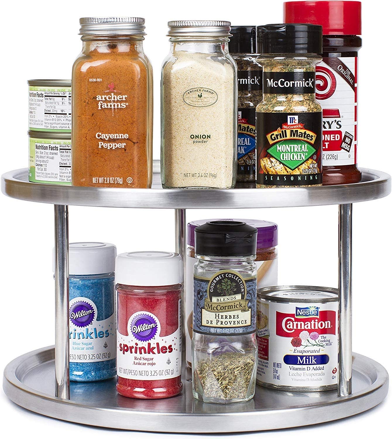 Simpli-Magic Lazy Susan, 2-Tier, Brushed Stainless Steel