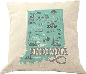 DrupsCo 18x18 Indiana Pillow Cover - Indiana Throw Pillow Case, Indiana Decor Pillow