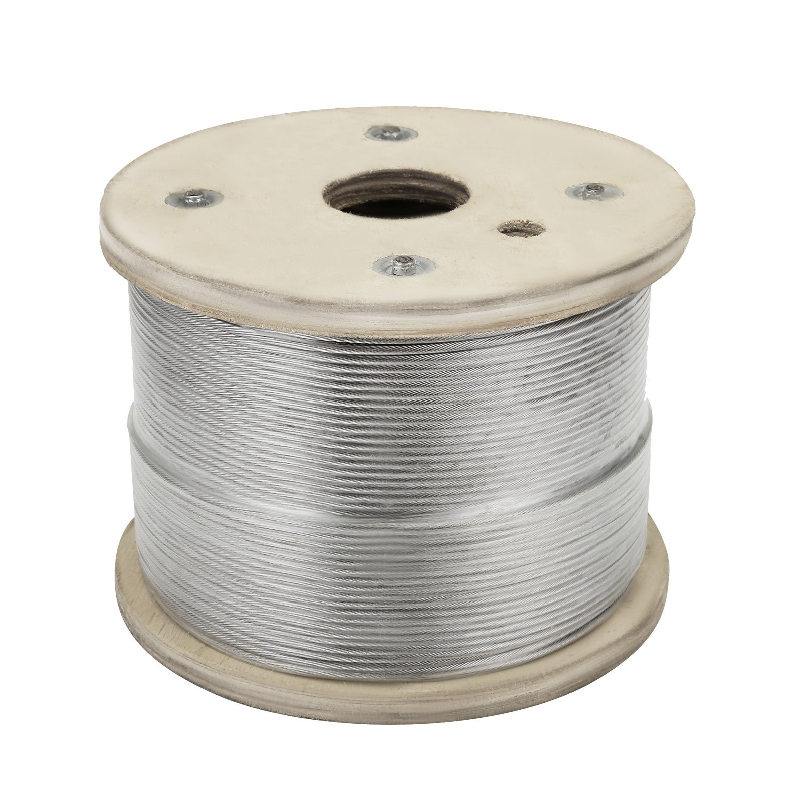 Happybuy Stainless Steel Cable 500FT 0.125 Inch 1x19 Steel Cable Wire Rope Grade 316 Cable Railing (T316)