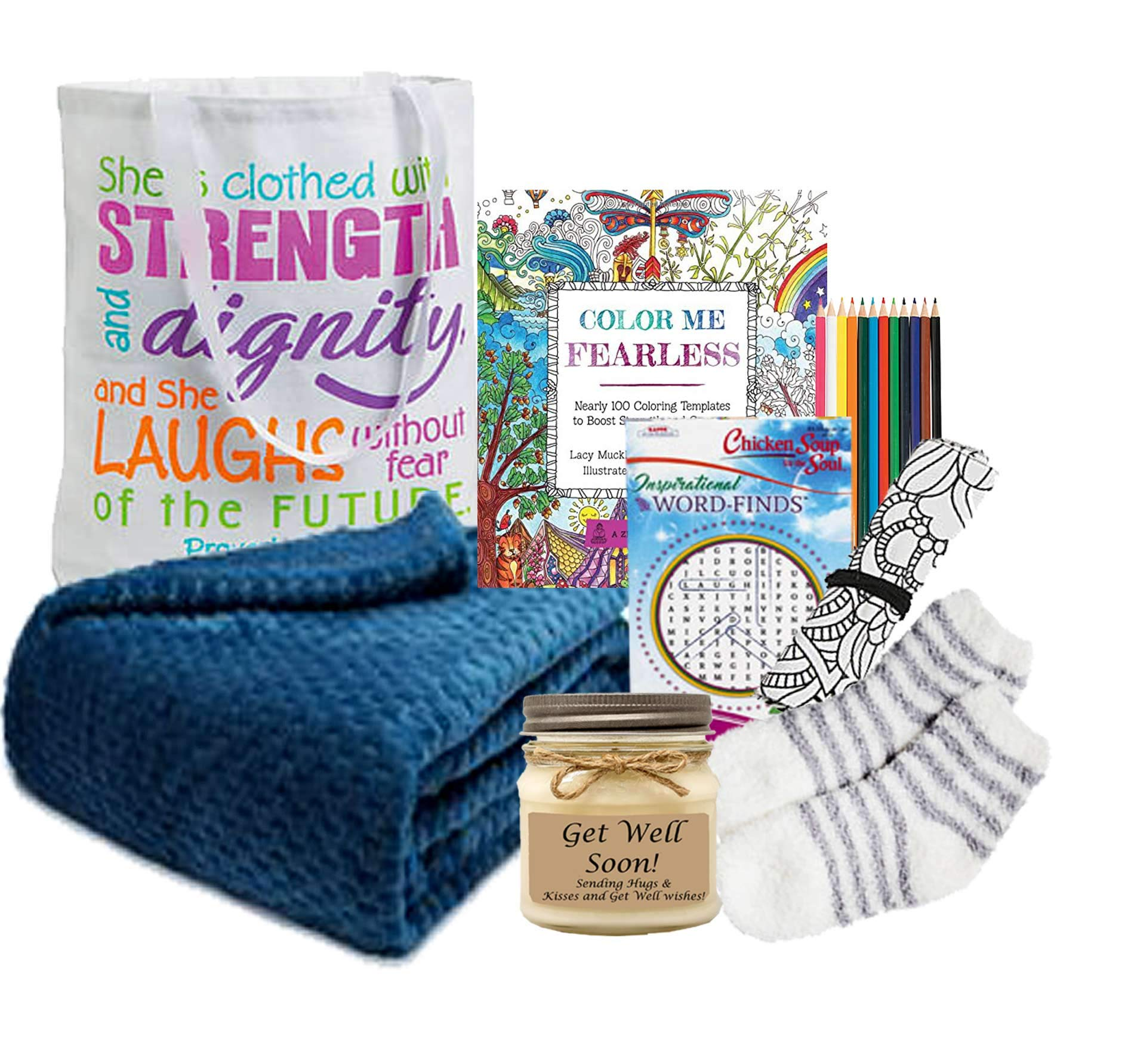 Get Well Gift for Women - Get Well Soon Basket with an Ultra Plush Blanket, Tea, Get Well Candle and More