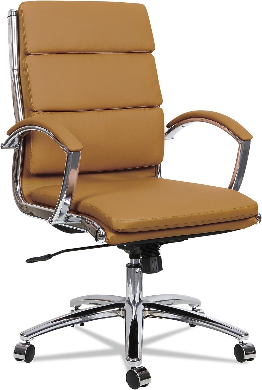 Alera ALE Neratoli Mid-Back Slim Profile Chair, Camel Soft Leather, Chrome Frame