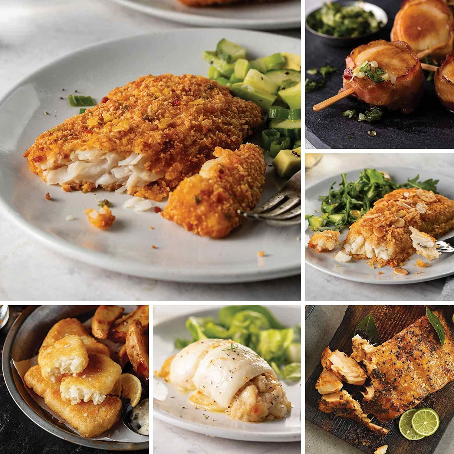Easy Seafood Favorites from Omaha Steaks (Tortilla-Crusted Tilapia Fillets, Pub-Style Cod, Stuffed Sole with Scallops and Crabmeat, Marinated Salmon Fillets, Sole Almondine, and more)