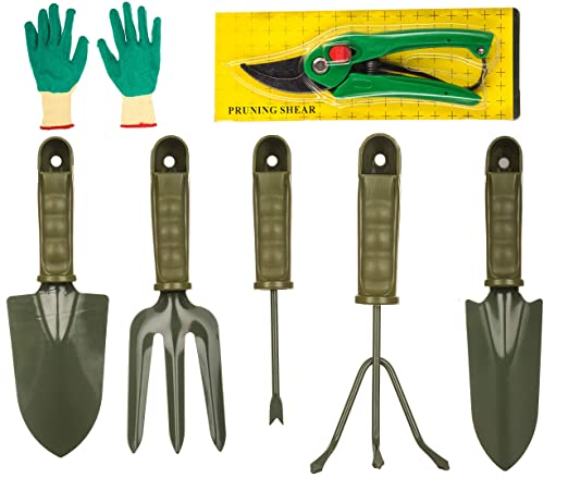 Bulfyss 7 Pieces Gardening Tools Seed Handheld Shovel Rake Spade Trowel with Pruning Shear and Gloves