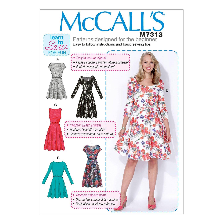 McCalls Patterns M7313 Misses//Womens Flared Dresses 8-10-12-14-16 Size B5