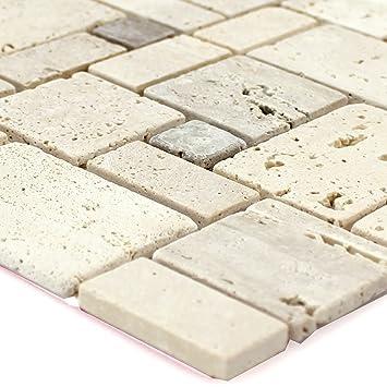Bekannt Selbstklebende Travertin Naturstein Mosaik Fliesen Beige: Amazon UW39