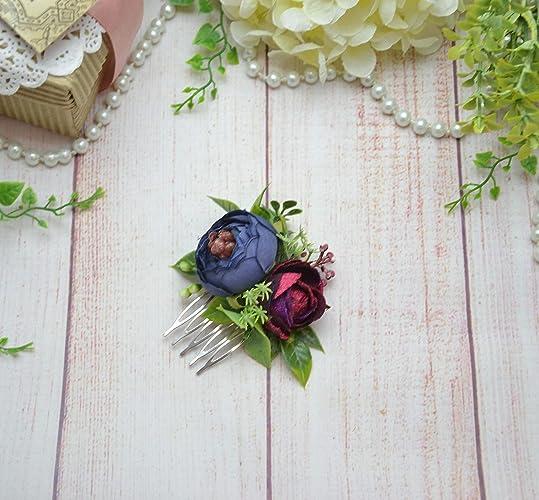 9224c00964d9 Amazon.com  Navy blue burgundy hair comb with flowers Bridesmaid heapiece  floral hair piece  Handmade