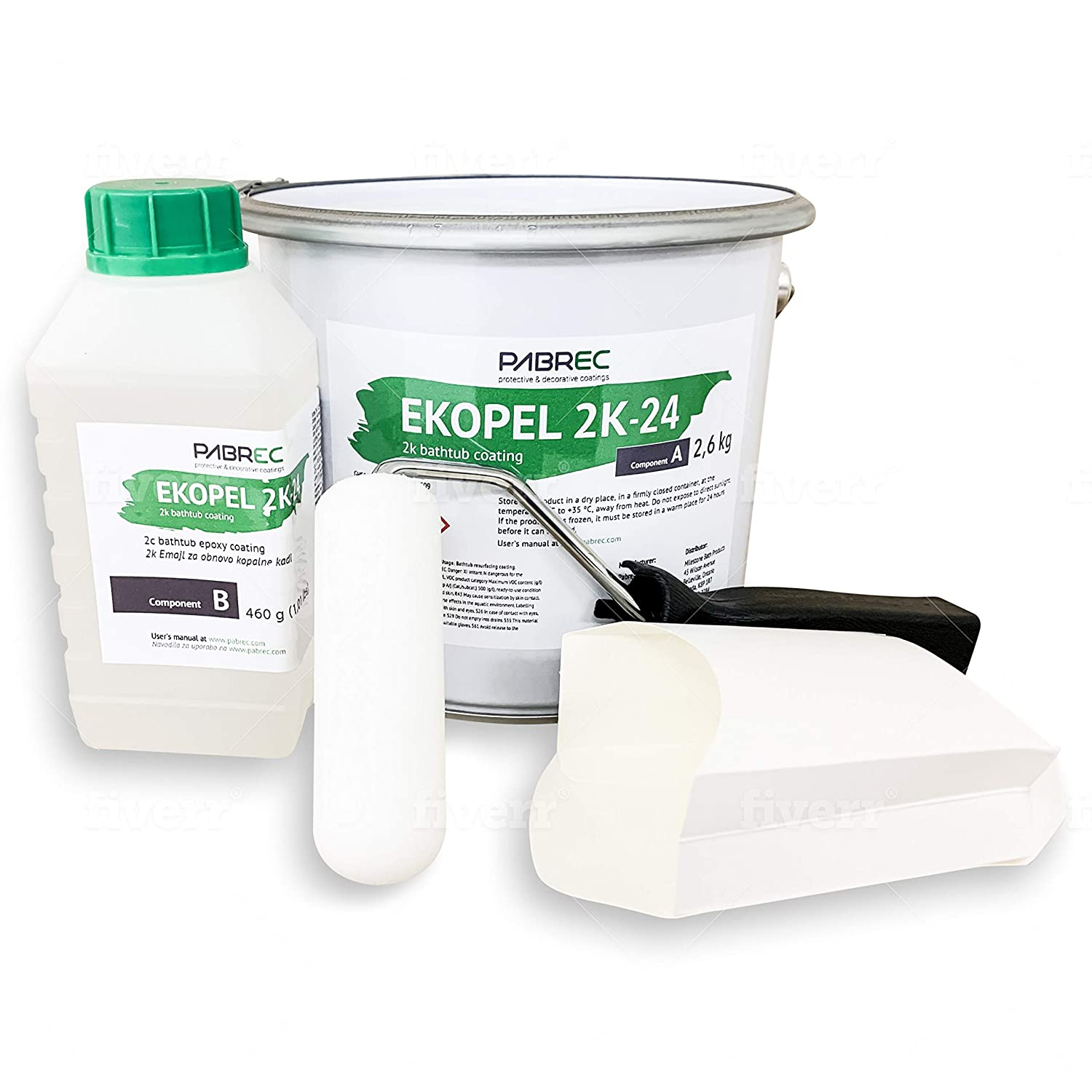 8. Ekopel 2K Bathtub Refinishing Kit No Peel Pour On Tub Coating