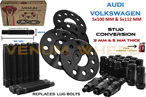 12MM Hubcentric Wheel Spacers Black Ball Bolts Audi 5x112 66.5 14x1.5