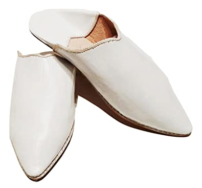 50012ad75eaa Moroccan Babouche Flat Leather Handmade Shoes - City Style in Divinely  White (Ships from Within