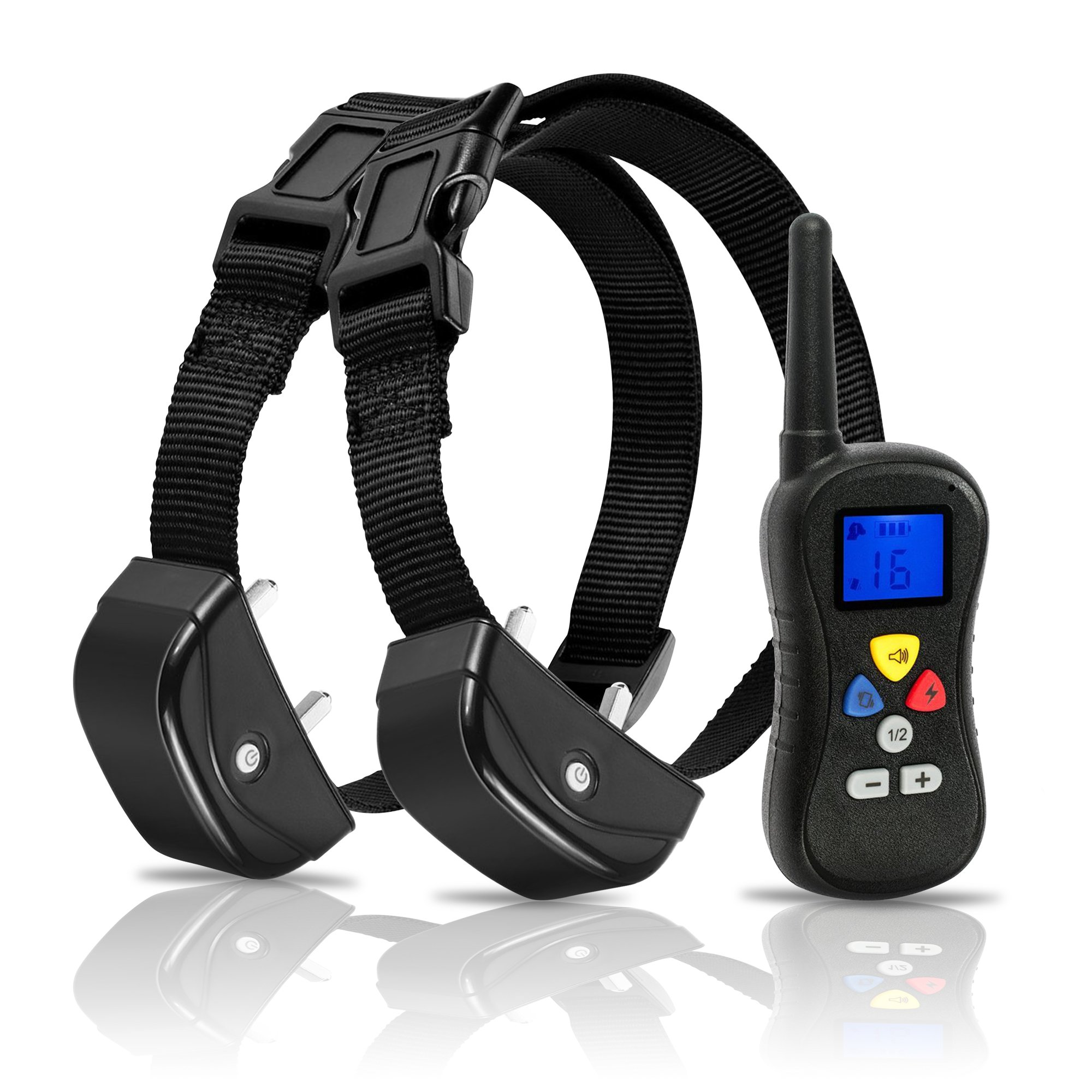 Deluxe Remote Pet Trainer Nylon Dog Collars (300m, Modes: Sound, Vibration & Shock)