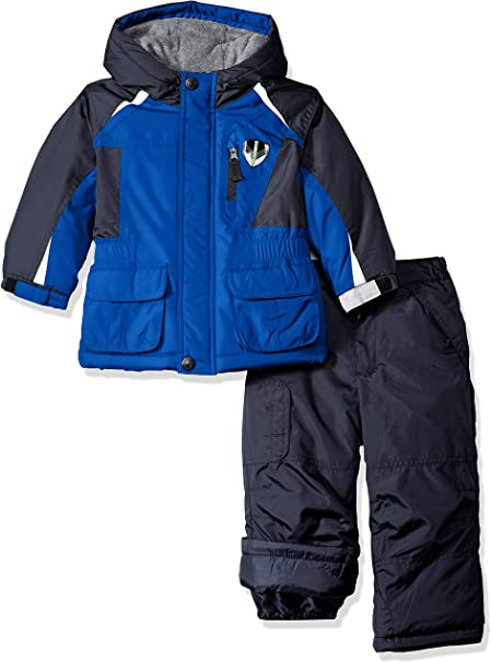 London Fog Big Boys 2-Piece Colorblock Snow Bib and Jacket Snowsuit