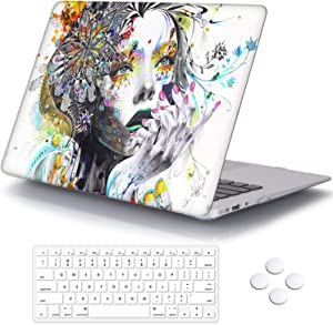 MacBook Air 13 inch Case, DQQH Rubber Coated Ultra Thin Protective Hard Shell Cover+Keyboard Cover for Older Version MacBook Air 13 inch Model A1369/A1466 Before 2018-Hand-drawn Girl