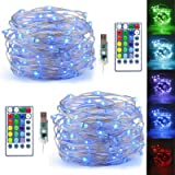 LiyuanQ LED String Lights, 2 Set Multi Color Changing Fairy Lights USB Plug-in Fairy String Lights Remote & Timer, 4…