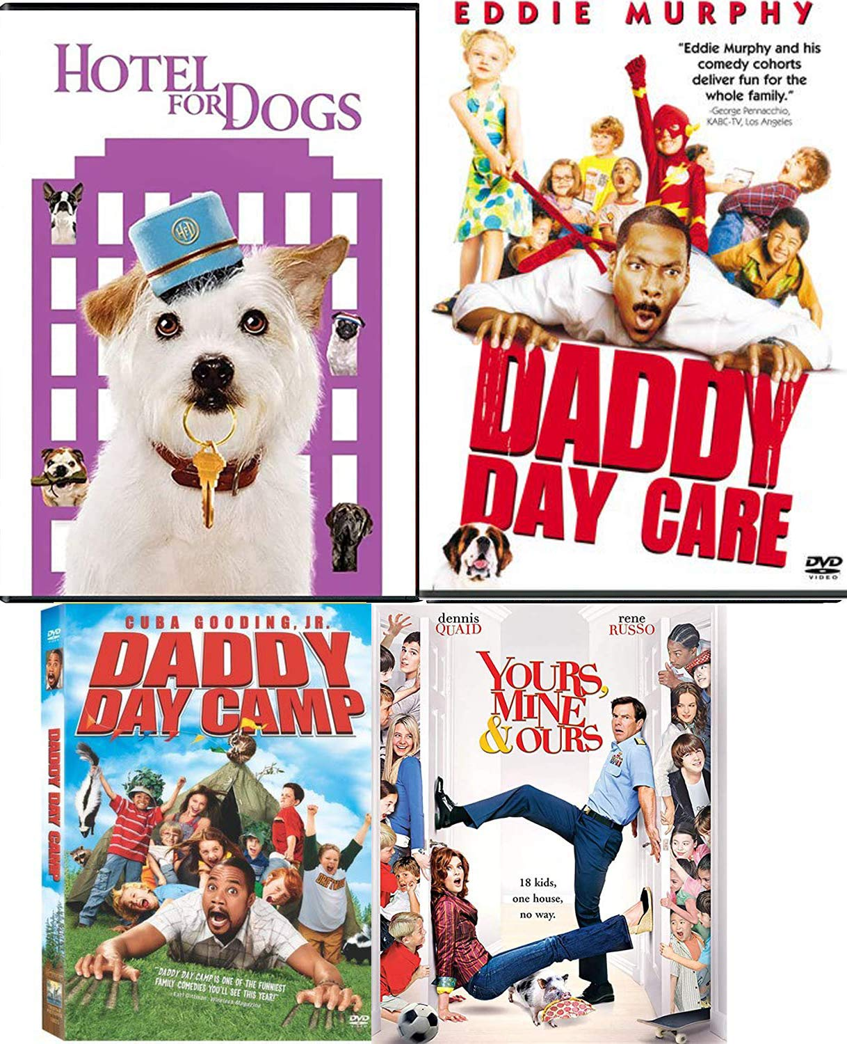 Amazon Com Deliver Whole Family Laughs Movies Dvd Hotel For Dogs Daddy Daycare Daddy Daycamp Ours Yours Mine Comedy 4 Movies Eddie Murphy Movies Tv