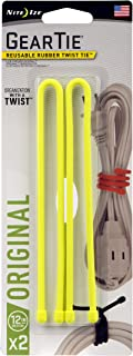product image for Nite Ize Original Gear Tie, Reusable Rubber Twist Tie, 12-Inch, Neon Yellow, 2 Pack, Made in the USA