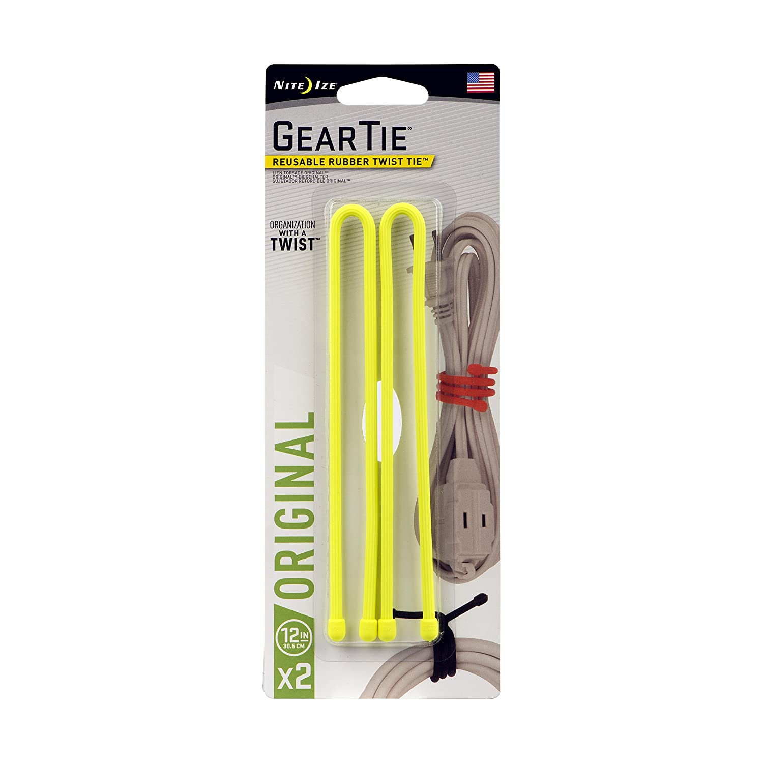 Nite Ize Original Gear Tie, Reusable Rubber Twist Tie, 12-Inch, Neon Yellow, 2 Pack, Made in the USA - - Amazon.com