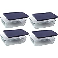 Pyrex Storage 6-Cup Rectangular Dish with Dark Blue Plastic Cover, Clear, Box of 4 Containers …