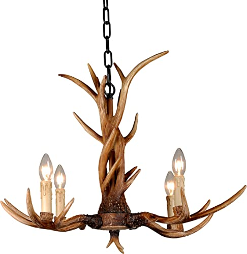EFFORTINC Vintage Style Resin Antler Chandelier 4 Lights,Living Room,Bar,Cafe