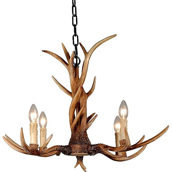 EFFORTINC ® lámpara del vintage Ciervo Cuerno Resina 4 Luces ...
