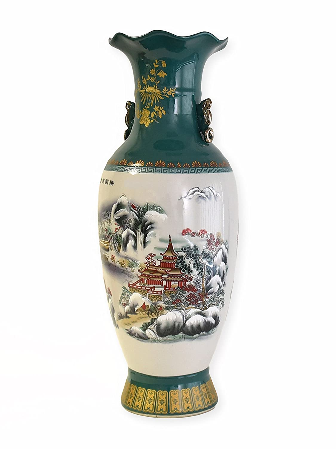 Great chinese vase vintage bodenvase xl porcelain with landscape great chinese vase vintage bodenvase xl porcelain with landscape motive teehaus green amazon kitchen home reviewsmspy