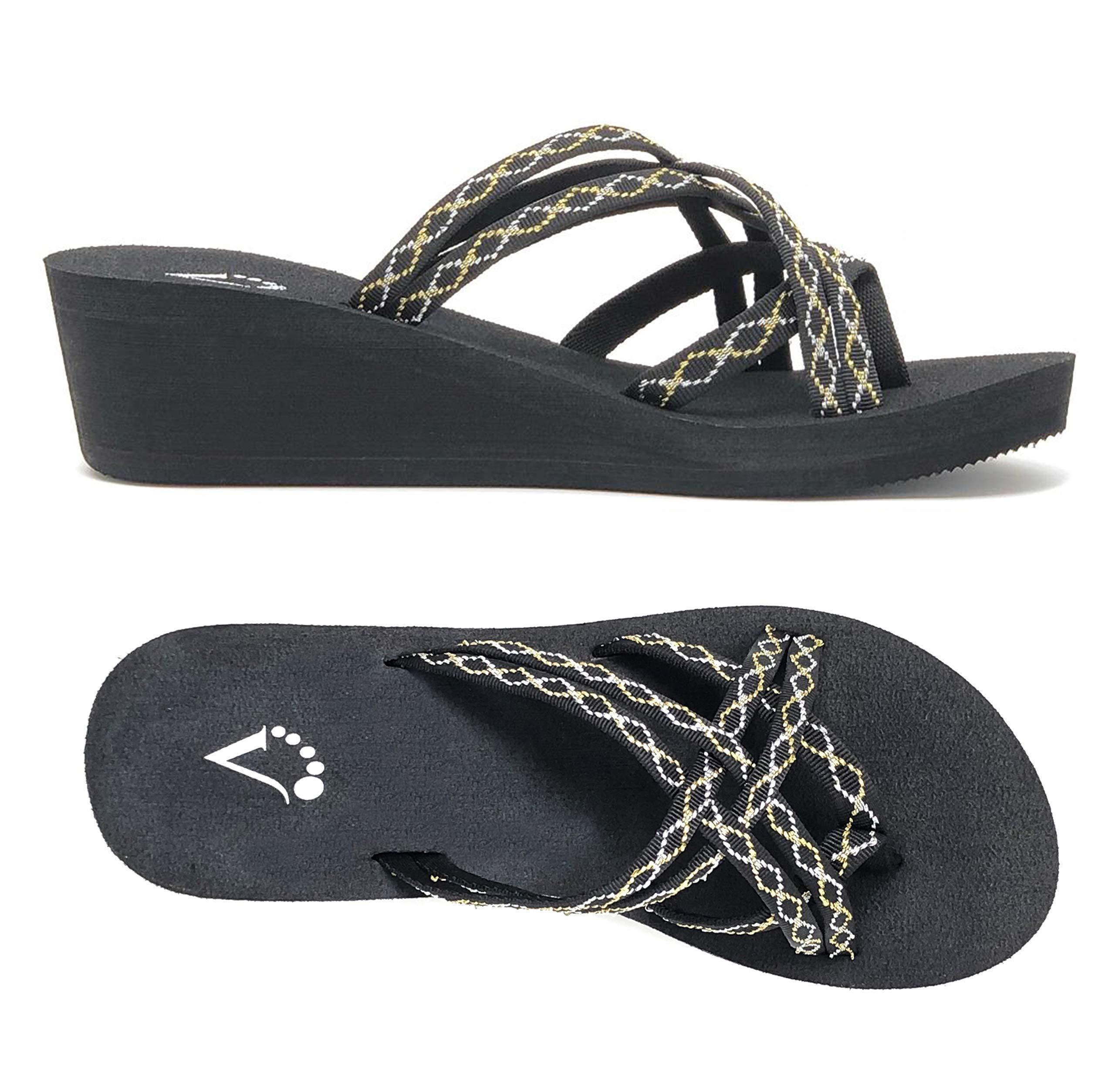 Viakix Wedge Flip Flops Women – Comfortable, Stylish, Cute, Women's Strappy Sandal Walking, Beach, Travel